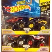 Hot Wheels Monster Jam Demolition Doubles Spider Man Vs Captain America & Iron Man Vs Wolverine 1:64 Scale