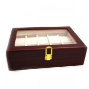 Cutie pentru ceasuri din lemn de culoarea mahonului