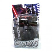 Star Wars Year 2002 Unleashed Series 6-1/2 Inch Tall Action Figure - Darth Vader with Red Lightsaber and Diorama Base Plus Exclusive Star Wars Trading Card by Hasbro