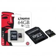 Cartão De Memória Kingston 64GB Micro SDXC Class 10 UHS-I + Adaptador SD - SDC10G2/64GB