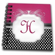 3dRose db_113847_3 Elegant Pink with Black and White Polka Dot Monogram Letter H-Mini Notepad 4 by 4