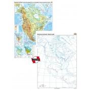 America de Nord. Harta fizico-geografică şi a principalelor resurse naturale de subsol – Duo 120x160 cm