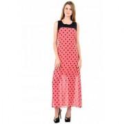 Raabta Fashion Pink Black Dotted Long Dress