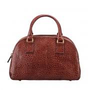 Damen Mock Croc Leder Handtasche in Braun - Schultertasche, Umhängetasche, Shopper, Henkeltasche