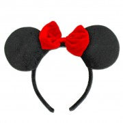 Alice Band Big Mouse Ears With Small Red Bow