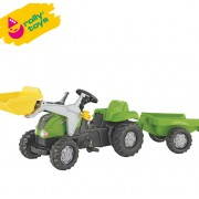 Traktor na pedale sa prikolicom i utovarivačem Rolly Kid-X zeleni