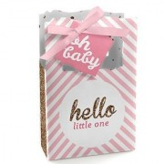 Hello Little One - Pink and Gold - Girl Baby Shower Party Favor Boxes - Set of 12