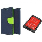 Sony Xperia T2 Ultra Mercury Wallet Flip Cover Case (BLUE) With Sandisk SD CARD ADAPTER