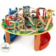 Trenulet din lemn City Explorer si masa de joaca - Kidkraft
