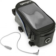 igadgitz Medio Negro Bicicleta Bolsa Frontal Tubo Alforja Resistente al Agua Reflectante con PVC Funda Protectora Transparente para Móvil, iPod, MP3 & GPS