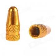 Casquillo de la valvula de Presta del neumatico de la bicicleta de la aleacion de aluminio - de oro (2PCS)