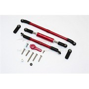 Axial SCX10 II Upgrade Parts (AX90046, AX90047) Aluminium Adjustable Steering Links With 25T Servo Horn - 4Pcs Set Red