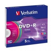 Verbatim DVD+R 16X 4,7GB, Slim Case Color (43556)