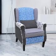 vidaXL Patchworkové relaxační křeslo ve venkovském stylu, modro-bílé