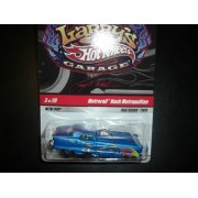 Hot Wheels Larry's Garage Series CHASE CAR # 3 of 20 Metrorail Nash Metropolitan-Light Blue w/Flames with Larry's Initials On Base 1:64 Scale Collectors Car by Hot Wheels