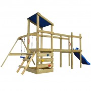 vidaXL Playhouse Set with Ladder, Slide and Swings 463x275x235 cm Wood