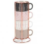 Maisons du monde 4 tazze da caffè in maiolica + supporto MODERN COPPER