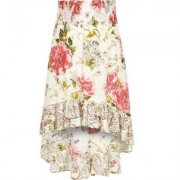 River Island Girls White floral high-low hem maxi skirt
