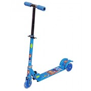 BabyGo 3-Wheel Height Adjustable Folding Kick Kids Scooty Scooter Toy with Shockers and Light in Wheels (Blue)