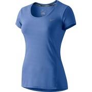 Nike Dri-Fit Contour Ss-Camicia da donna a maniche corte, Donna, Azul / Plateado (Chalk Blue/Reflective Silv), L