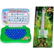 combo of Mini English Learning Laptop Musical Guitar Fetching Light and Sound for kids