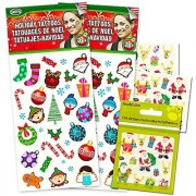 Holiday Christmas Temporary Tattoos and Stickers Set (70 Tattoos and 108 Stickers Holiday Party Supplies)