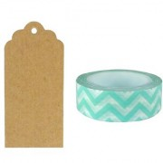 Allydrew 50 Scalloped Gift Tags/Kraft Hang Tags with Free Cut Strings & Washi Tape for Gifts Crafts & Price Tags - Aqua Chevron