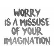 "'Plage 152798 - Adesivo da parete frase ""Worry is a missuse of your imagination, vinile, 68 x 0,1 x 47,7 cm, grigio"