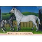 Breyer Horses * Sunshine Meadows * Grey Thoroughbred & Dark Grey Thoroughbred Foal * Horse Figure Set