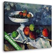 Paul Cézanne: Csendélet gyümölcstállal (30x25 cm, Vászonkép )