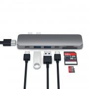 Satechi USB-C Pro USB Hub - мултифункционален хъб за свързване на допълнителна периферия за компютри с USB-C (тъмносив)