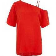 River Island Womens Red one shoulder double cami strap top