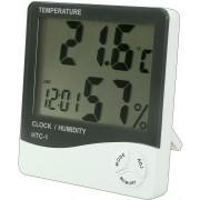 Termometru, ceas si higrometru, cu afisaj LCD - HTC-1