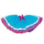Modrá tutu sukňa s ružovou mašličkou