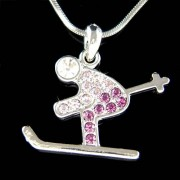 Swarovski Crystal Purple Skier Skiiing in Snow Ice Ski Necklace