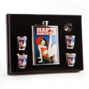 """Flask Set - Happy Birthday Pin Up Girl with Funnel and 4 Shot Glasses"""
