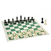 Best Value Tournament Chess Set - 90% Plastic Filled Chess Pieces and Green Roll-up Vinyl Chess Board by Wood Expressions - Toys
