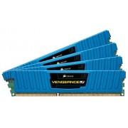 Corsair CML16GX3M4A1600C9B Vengeance Low Profile Memoria per Desktop a Elevate Prestazioni da 16 GB (4x4 GB), DDR3, 1600 MHz, CL9, con Supporto XMP, Blu