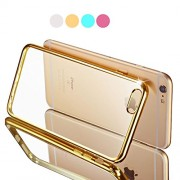Cables Kart Apple iPhone 6 / 6s 4.7 inch Ultra Thin 0.5mm Transparent Flexible Soft TPU Slim Back Case Cover GOLDEN Ring