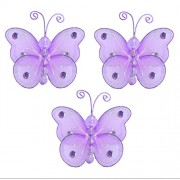 "Butterfly Decor 3"" Purple (Lavender) Mini (X-Small) Wire Hanging Nylon Butterflies 3pc set. Decorate"