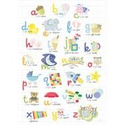 Happy Spaces - Stampa colorata su tela, per la cameretta, Multicolore (My First Alphabet by Laila Hills), 50 x 70 x 2 cm