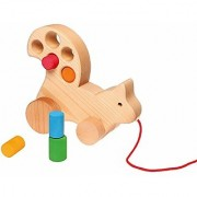 Grimms Wooden Squirrel Pull Along Multi-Use Toddler Toy with Size-Sorting Blocks