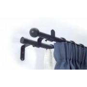 Kétsoros fekete fém rúdkarnis garnitúra, 200cm hosszú, Gömb véggel/Cikksz:0940090