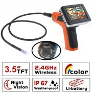 Wireless Borescope Inspection 4 LED Camera with 3.5 inch Color LCD Recordable Monitor Lens Diameter: 9mm