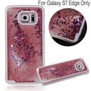 KC Liquid Flowing 3D Bling Glitter Star Transparent Hard Back Cover for Samsung Galaxy S7 edge - Rose Gold