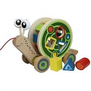 Hape - Walk-A-Long Snail Wooden Pull Toy