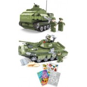 BRICTEK Army Bazooka Tank and T-80-U Tank 412pc Building Blocks Set (Compatible with Legos) with Col