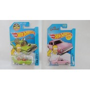 2015 Hot Wheels Simpsons Family Car And Homer In Protective Cases