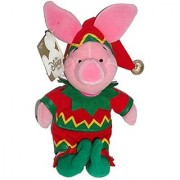 Disney Winnie the Pooh Santas Workshop Elf Piglet 9 Plush Bean Bag Doll