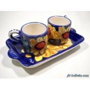 Tazzine con vassoio in ceramica